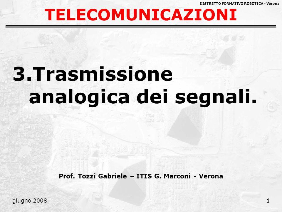 DISTRETTO FORMATIVO ROBOTICA - Verona giugno 20081 TELECOMUNICAZIONI 3.Trasmissione analogica dei segnali. Prof. Tozzi Gabriele – ITIS G. Marconi - Ve