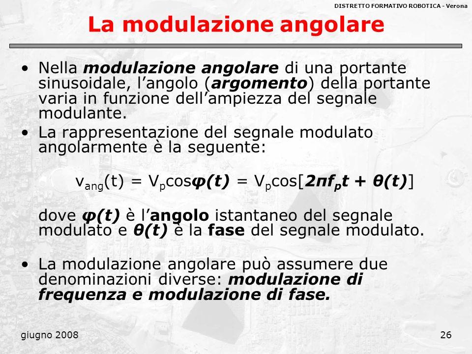DISTRETTO FORMATIVO ROBOTICA - Verona giugno 200826 La modulazione angolare Nella modulazione angolare di una portante sinusoidale, langolo (argomento