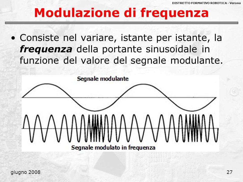 DISTRETTO FORMATIVO ROBOTICA - Verona giugno 200827 Modulazione di frequenza Consiste nel variare, istante per istante, la frequenza della portante si