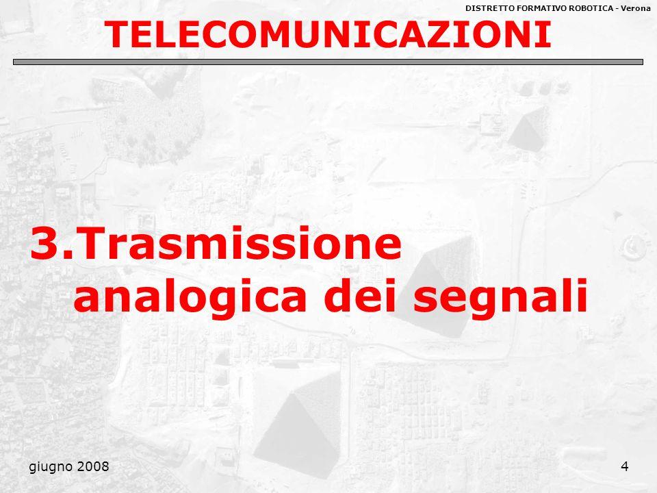 DISTRETTO FORMATIVO ROBOTICA - Verona giugno 20084 TELECOMUNICAZIONI 3.Trasmissione analogica dei segnali