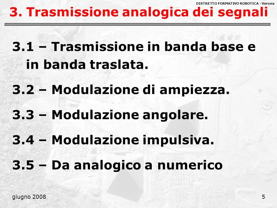DISTRETTO FORMATIVO ROBOTICA - Verona giugno 20085 3. Trasmissione analogica dei segnali 3.1 – Trasmissione in banda base e in banda traslata. 3.2 – M