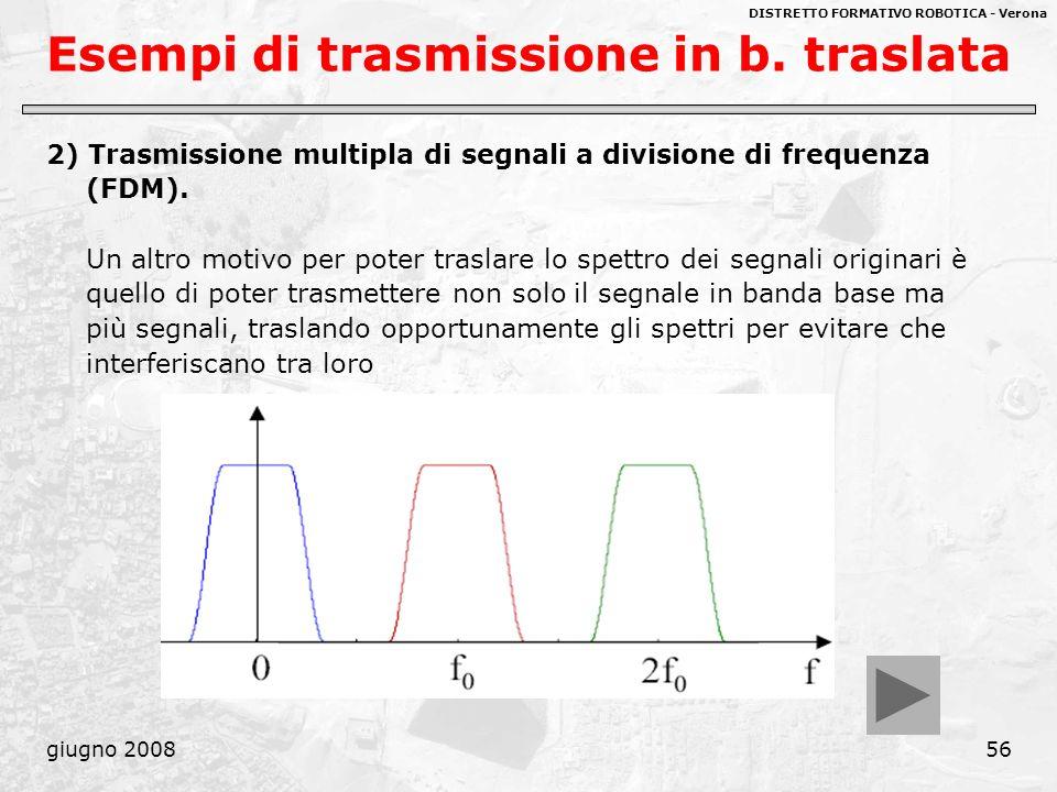 DISTRETTO FORMATIVO ROBOTICA - Verona giugno 200856 Esempi di trasmissione in b. traslata 2) Trasmissione multipla di segnali a divisione di frequenza
