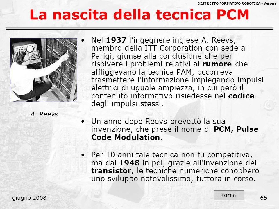 DISTRETTO FORMATIVO ROBOTICA - Verona giugno 200865 La nascita della tecnica PCM Nel 1937 lingegnere inglese A. Reevs, membro della ITT Corporation co