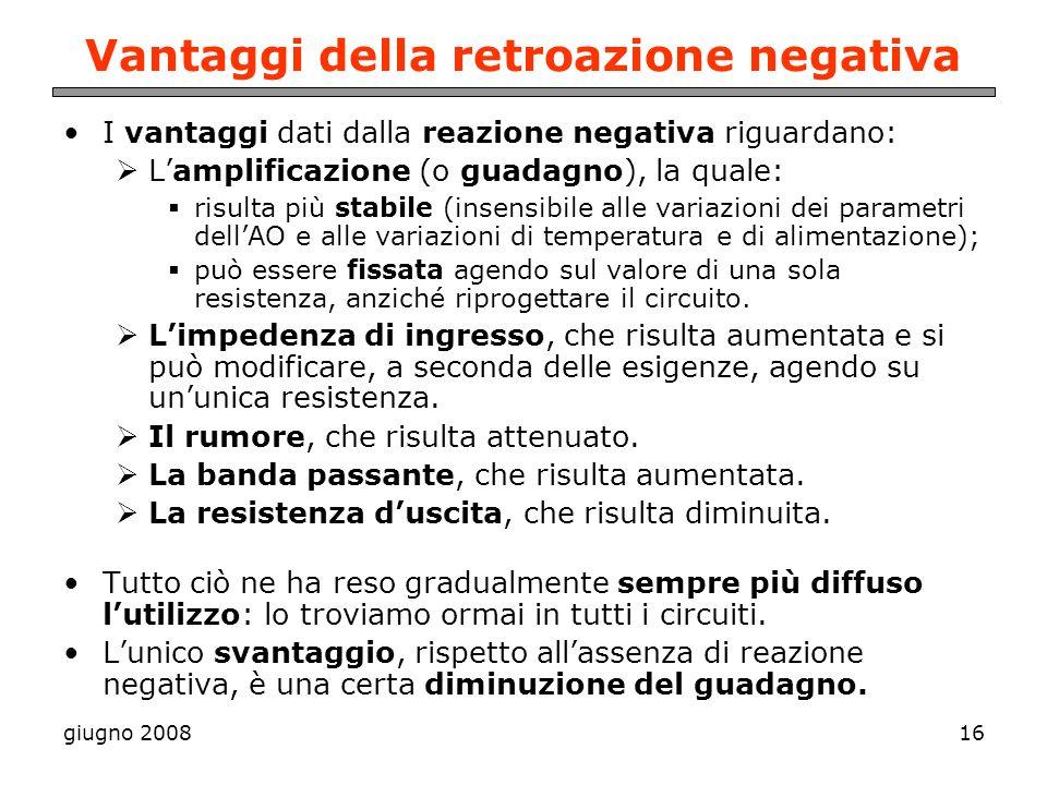 giugno 200816 Vantaggi della retroazione negativa I vantaggi dati dalla reazione negativa riguardano: Lamplificazione (o guadagno), la quale: risulta