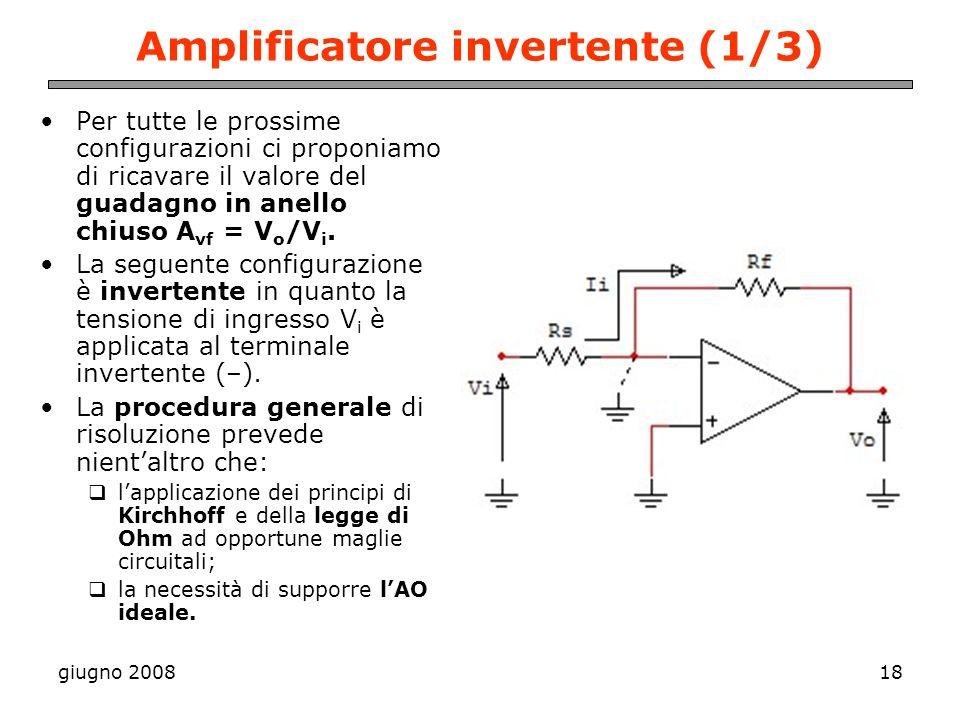 giugno 200818 Amplificatore invertente (1/3) Per tutte le prossime configurazioni ci proponiamo di ricavare il valore del guadagno in anello chiuso A