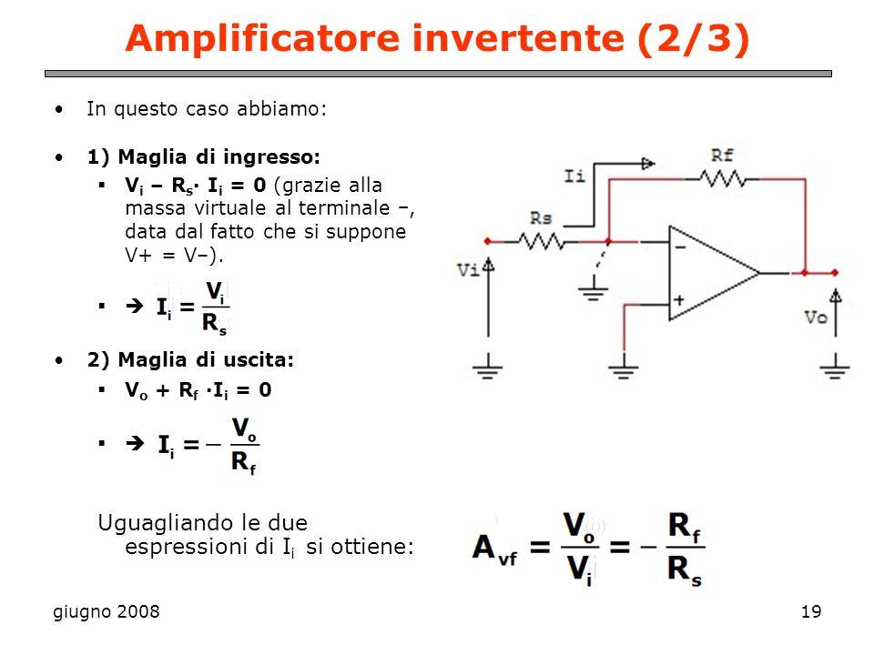 giugno 200819 Amplificatore invertente (2/3) In questo caso abbiamo: 1) Maglia di ingresso: V i – R s · I i = 0 (grazie alla massa virtuale al termina