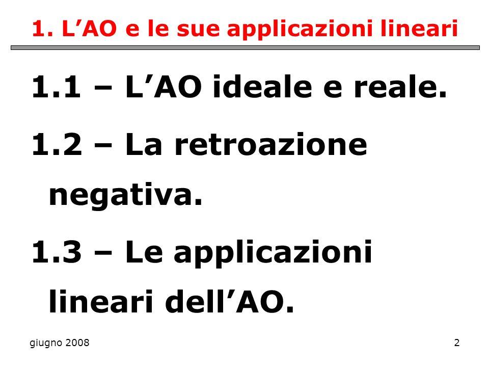 giugno 20082 1. LAO e le sue applicazioni lineari 1.1 – LAO ideale e reale. 1.2 – La retroazione negativa. 1.3 – Le applicazioni lineari dellAO.