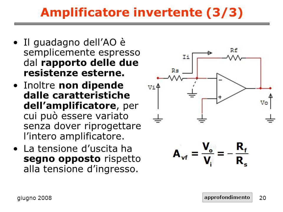 giugno 200820 Amplificatore invertente (3/3) Il guadagno dellAO è semplicemente espresso dal rapporto delle due resistenze esterne. Inoltre non dipend