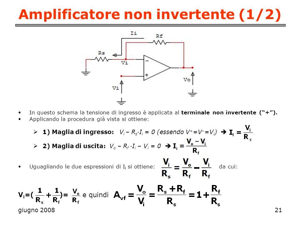 giugno 200821 Amplificatore non invertente (1/2) In questo schema la tensione di ingresso è applicata al terminale non invertente (+). Applicando la p