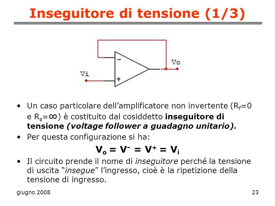 giugno 200823 Inseguitore di tensione (1/3) Un caso particolare dellamplificatore non invertente (R f =0 e R s = ) è costituito dal cosiddetto insegui
