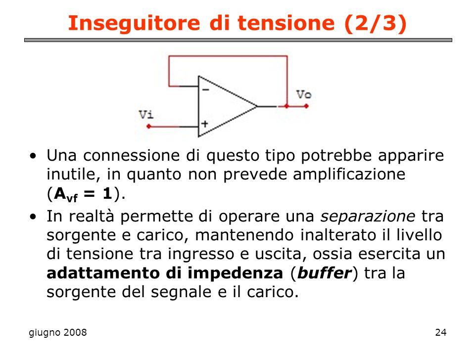 giugno 200824 Inseguitore di tensione (2/3) Una connessione di questo tipo potrebbe apparire inutile, in quanto non prevede amplificazione (A vf = 1).