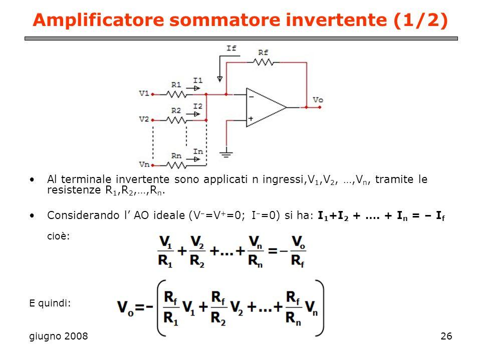 giugno 200826 Amplificatore sommatore invertente (1/2) Al terminale invertente sono applicati n ingressi,V 1,V 2, …,V n, tramite le resistenze R 1,R 2
