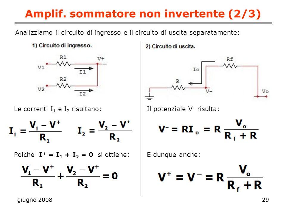 giugno 200829 Amplif. sommatore non invertente (2/3) Le correnti I 1 e I 2 risultano: Poiché I + = I 1 + I 2 = 0 si ottiene: Il potenziale V risulta: