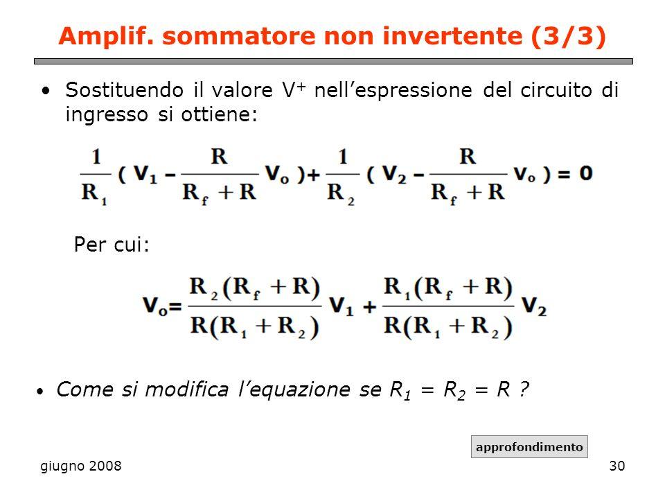 giugno 200830 Amplif. sommatore non invertente (3/3) Sostituendo il valore V + nellespressione del circuito di ingresso si ottiene: Per cui: Come si m