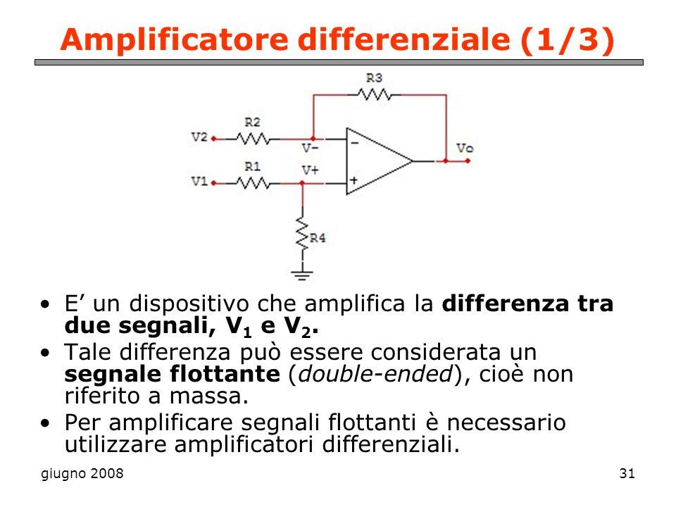 giugno 200831 Amplificatore differenziale (1/3) E un dispositivo che amplifica la differenza tra due segnali, V 1 e V 2. Tale differenza può essere co