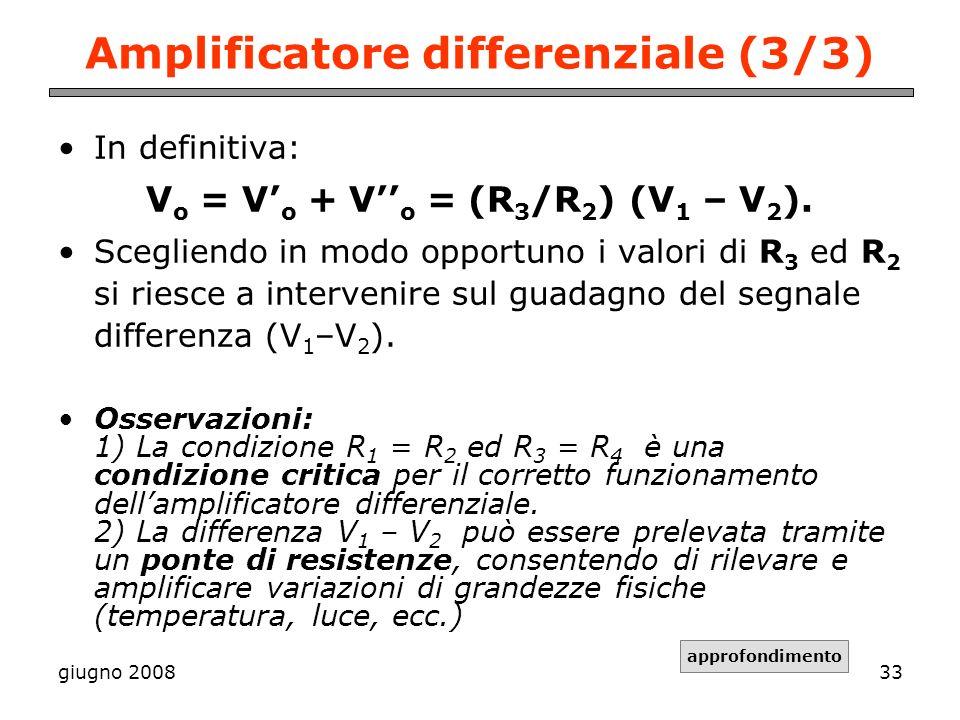 giugno 200833 Amplificatore differenziale (3/3) In definitiva: V o = V o + V o = (R 3 /R 2 ) (V 1 – V 2 ). Scegliendo in modo opportuno i valori di R