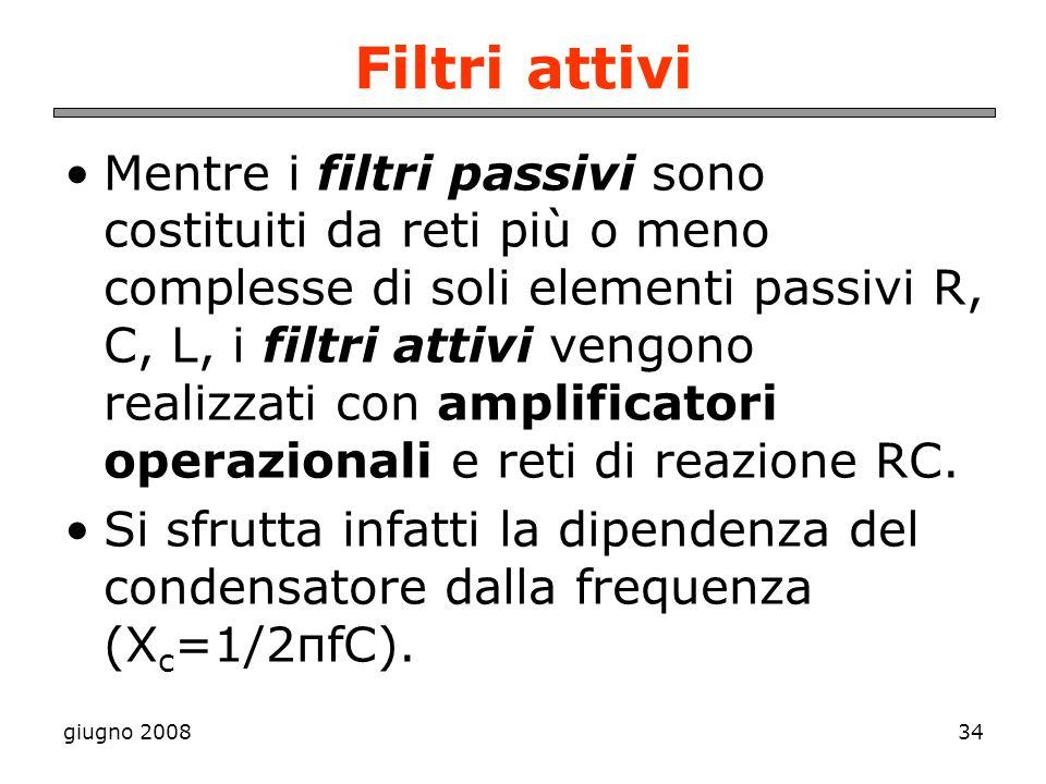 giugno 200834 Filtri attivi Mentre i filtri passivi sono costituiti da reti più o meno complesse di soli elementi passivi R, C, L, i filtri attivi ven