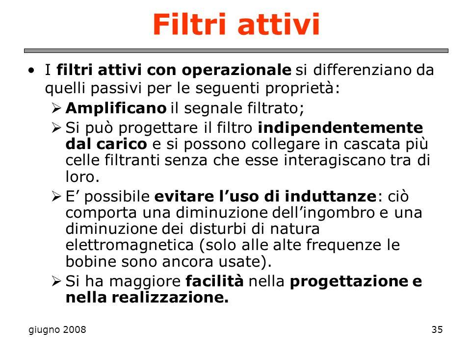 giugno 200835 Filtri attivi I filtri attivi con operazionale si differenziano da quelli passivi per le seguenti proprietà: Amplificano il segnale filt