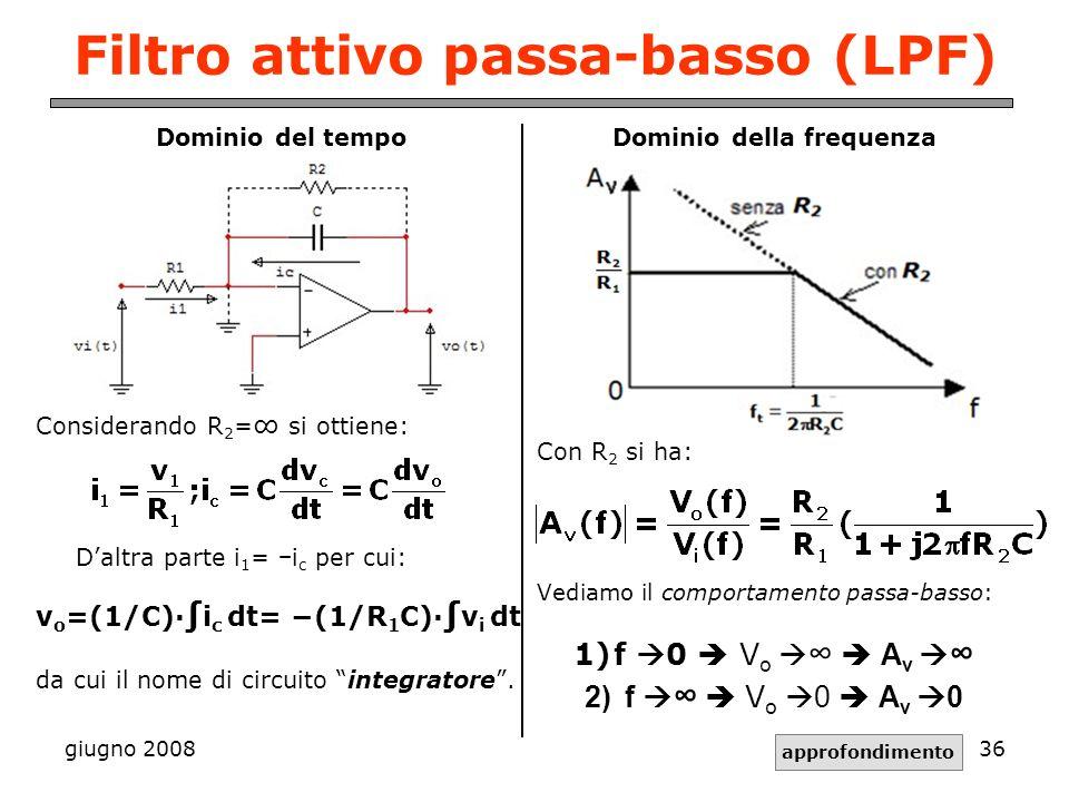 giugno 200836 Filtro attivo passa-basso (LPF) Dominio del tempo Considerando R 2 = si ottiene: Daltra parte i 1 = i c per cui: v o =(1/C)· i c dt= (1/