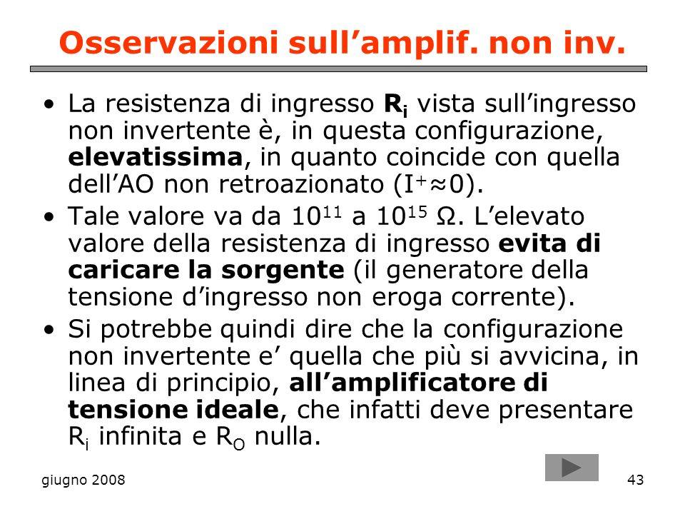giugno 200843 Osservazioni sullamplif. non inv. La resistenza di ingresso R i vista sullingresso non invertente è, in questa configurazione, elevatiss