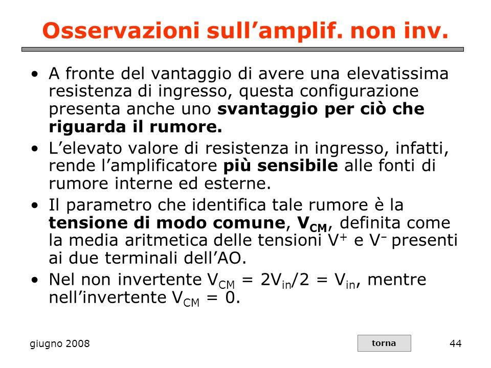 giugno 200844 Osservazioni sullamplif. non inv. A fronte del vantaggio di avere una elevatissima resistenza di ingresso, questa configurazione present