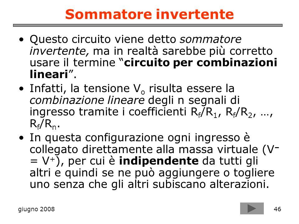 giugno 200846 Sommatore invertente Questo circuito viene detto sommatore invertente, ma in realtà sarebbe più corretto usare il termine circuito per c