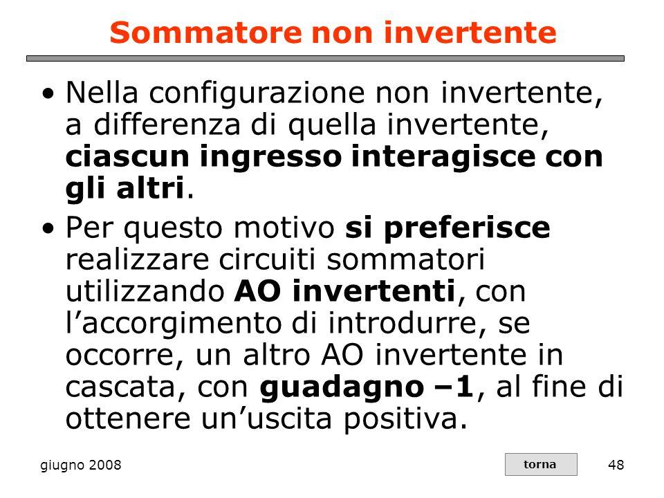 giugno 200848 Sommatore non invertente Nella configurazione non invertente, a differenza di quella invertente, ciascun ingresso interagisce con gli al