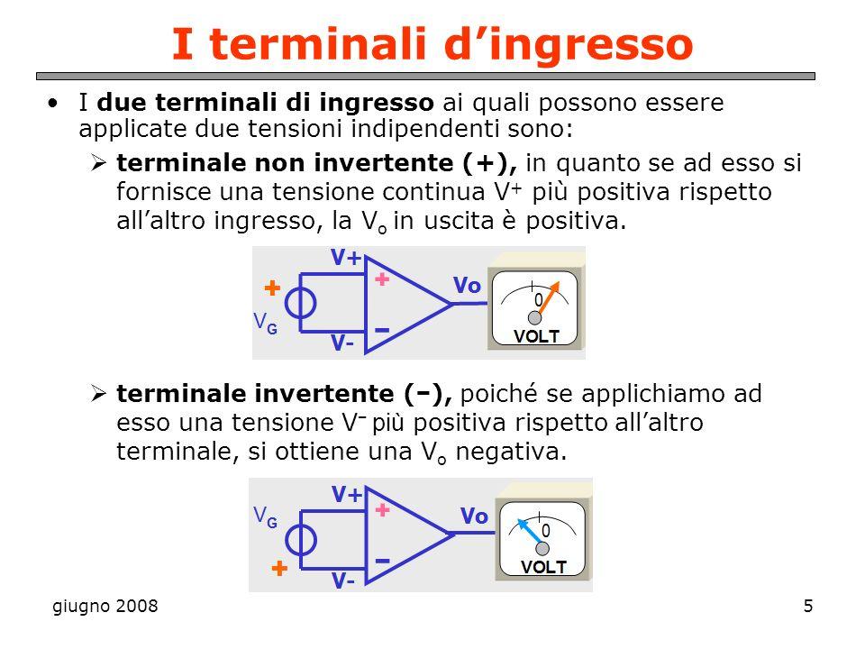giugno 20085 I terminali dingresso I due terminali di ingresso ai quali possono essere applicate due tensioni indipendenti sono: terminale non inverte