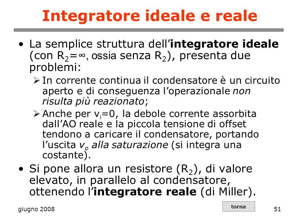 giugno 200851 Integratore ideale e reale La semplice struttura dellintegratore ideale (con R 2 =, ossia senza R 2 ), presenta due problemi: In corrent