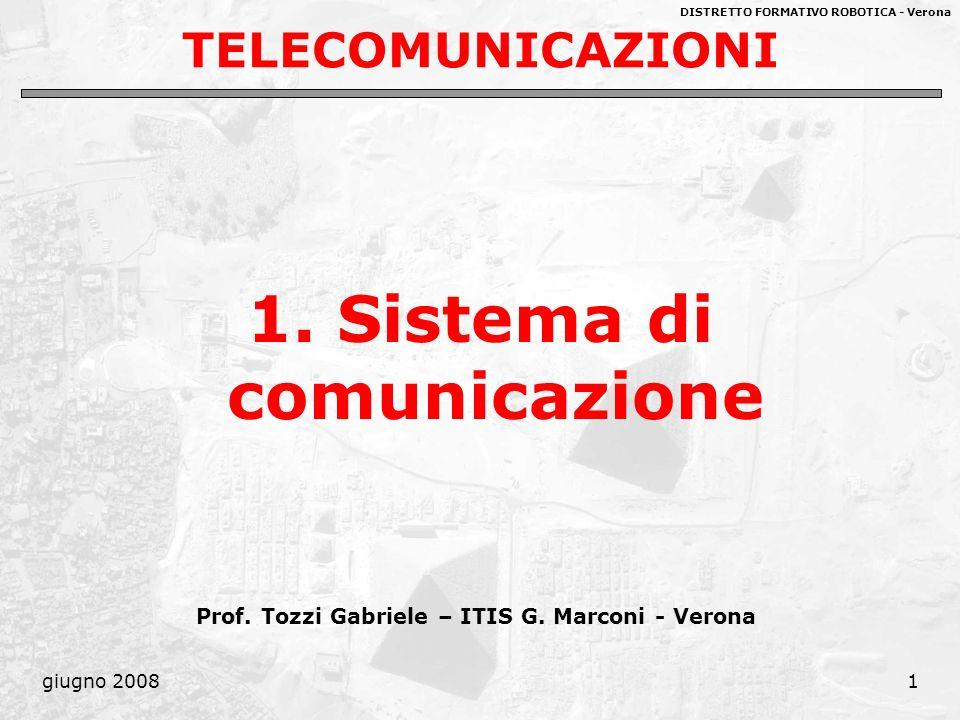 DISTRETTO FORMATIVO ROBOTICA - Verona giugno 20081 TELECOMUNICAZIONI 1. Sistema di comunicazione Prof. Tozzi Gabriele – ITIS G. Marconi - Verona