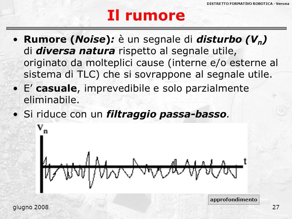 DISTRETTO FORMATIVO ROBOTICA - Verona giugno 200827 Il rumore Rumore (Noise): è un segnale di disturbo (V n ) di diversa natura rispetto al segnale ut