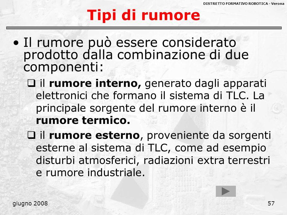 DISTRETTO FORMATIVO ROBOTICA - Verona giugno 200857 Tipi di rumore Il rumore può essere considerato prodotto dalla combinazione di due componenti: il