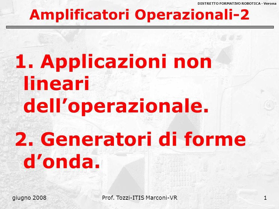 DISTRETTO FORMATIVO ROBOTICA - Verona giugno 2008Prof. Tozzi-ITIS Marconi-VR1 Amplificatori Operazionali-2 1. Applicazioni non lineari delloperazional