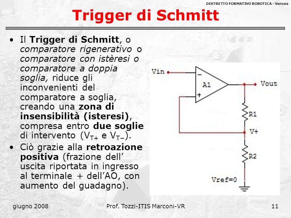 DISTRETTO FORMATIVO ROBOTICA - Verona giugno 2008Prof. Tozzi-ITIS Marconi-VR11 Trigger di Schmitt Il Trigger di Schmitt, o comparatore rigenerativo o