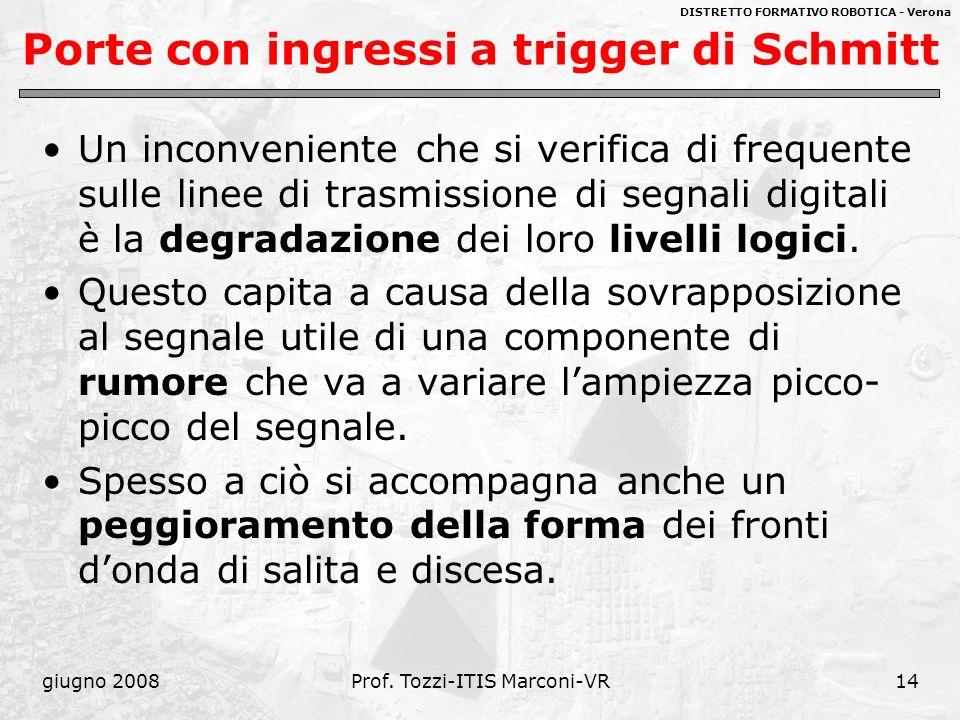 DISTRETTO FORMATIVO ROBOTICA - Verona giugno 2008Prof. Tozzi-ITIS Marconi-VR14 Porte con ingressi a trigger di Schmitt Un inconveniente che si verific