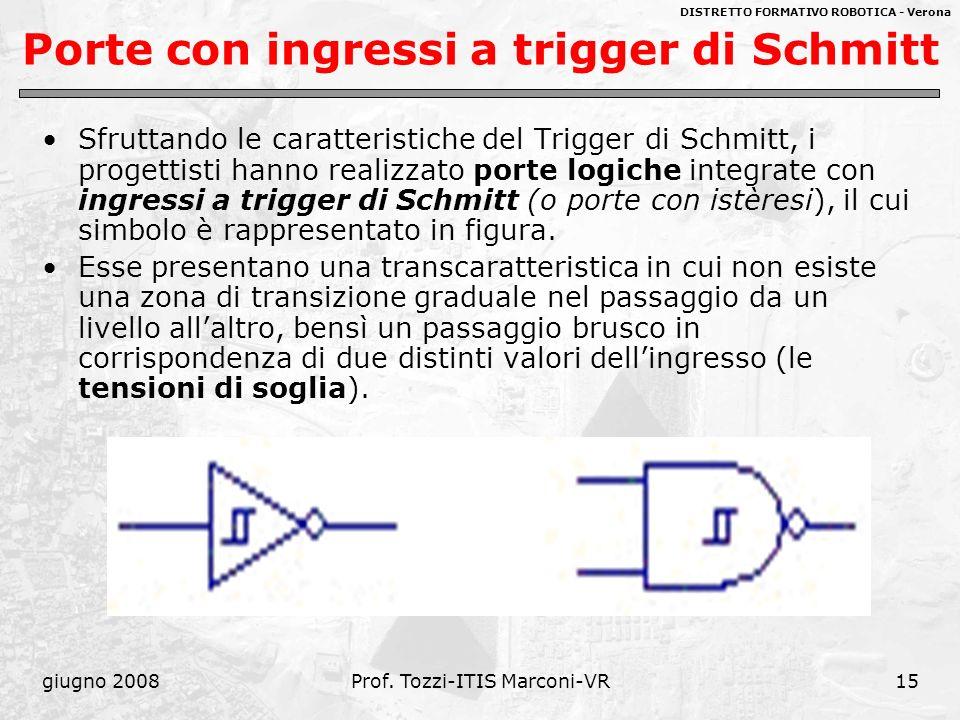 DISTRETTO FORMATIVO ROBOTICA - Verona giugno 2008Prof. Tozzi-ITIS Marconi-VR15 Porte con ingressi a trigger di Schmitt Sfruttando le caratteristiche d