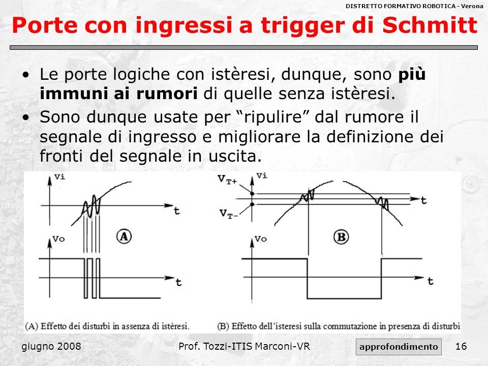 DISTRETTO FORMATIVO ROBOTICA - Verona giugno 2008Prof. Tozzi-ITIS Marconi-VR16 Porte con ingressi a trigger di Schmitt Le porte logiche con istèresi,