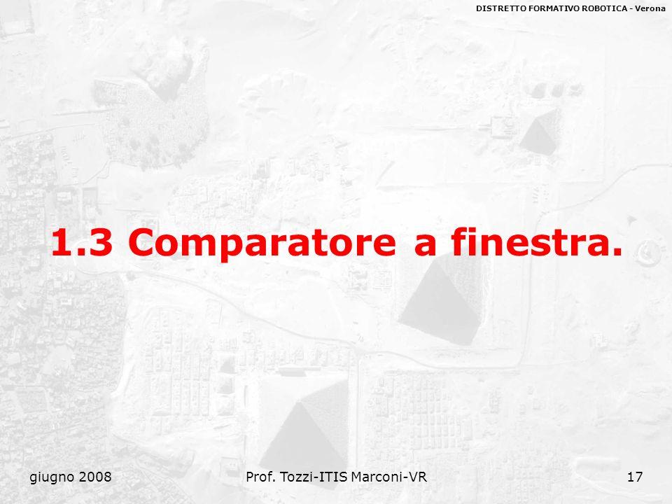 DISTRETTO FORMATIVO ROBOTICA - Verona giugno 2008Prof. Tozzi-ITIS Marconi-VR17 1.3 Comparatore a finestra.