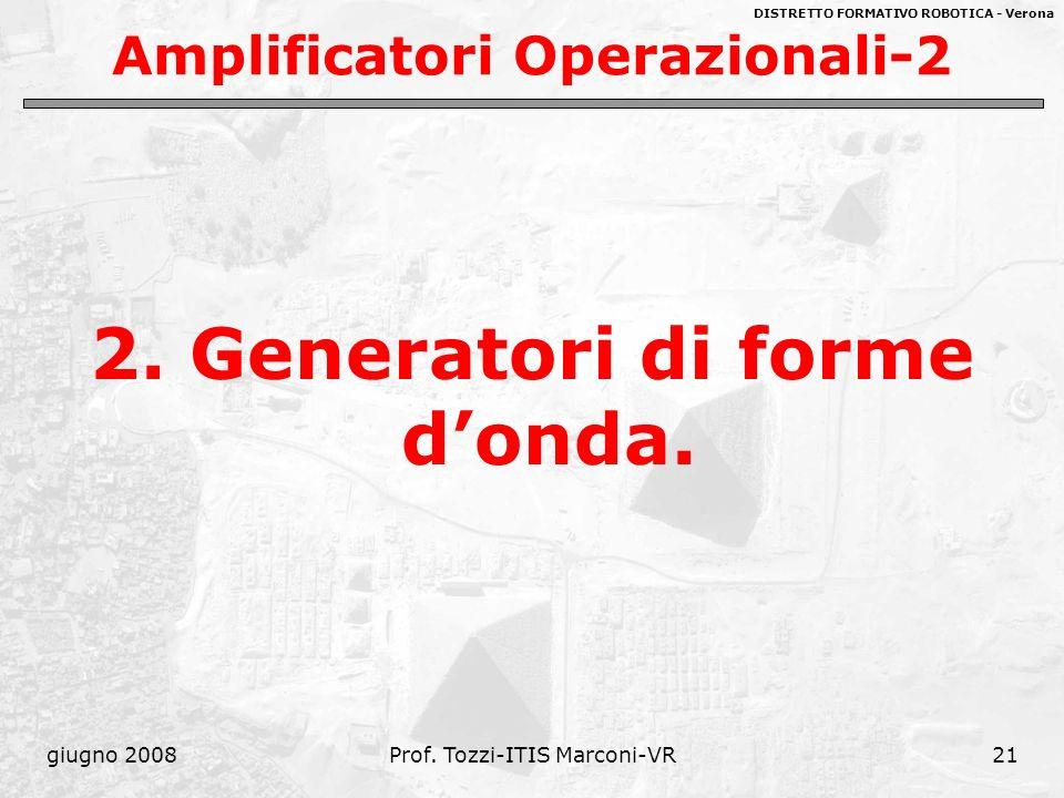 DISTRETTO FORMATIVO ROBOTICA - Verona giugno 2008Prof. Tozzi-ITIS Marconi-VR21 Amplificatori Operazionali-2 2. Generatori di forme donda.