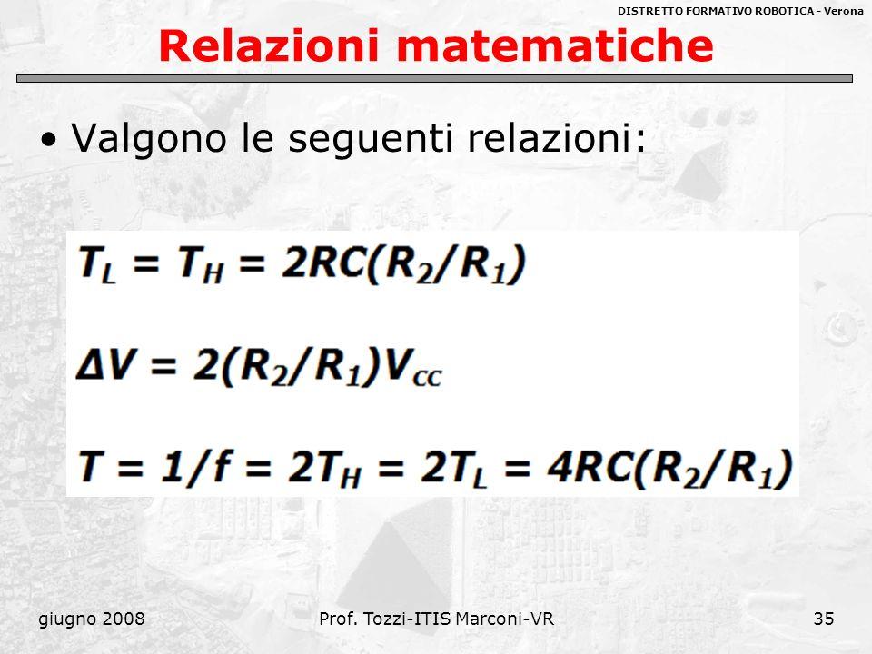 DISTRETTO FORMATIVO ROBOTICA - Verona giugno 2008Prof. Tozzi-ITIS Marconi-VR35 Relazioni matematiche Valgono le seguenti relazioni: