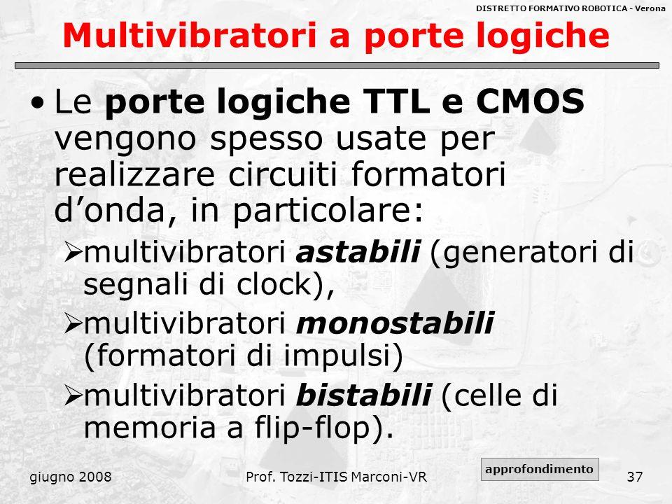 DISTRETTO FORMATIVO ROBOTICA - Verona giugno 2008Prof. Tozzi-ITIS Marconi-VR37 Multivibratori a porte logiche Le porte logiche TTL e CMOS vengono spes