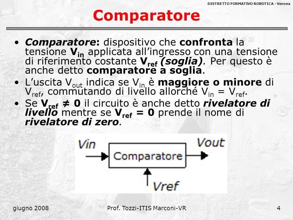 DISTRETTO FORMATIVO ROBOTICA - Verona giugno 2008Prof. Tozzi-ITIS Marconi-VR4 Comparatore Comparatore: dispositivo che confronta la tensione V in appl