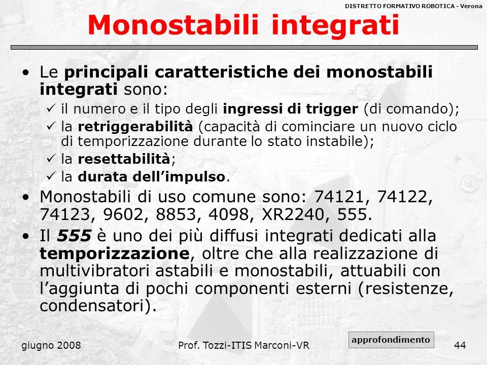 DISTRETTO FORMATIVO ROBOTICA - Verona giugno 2008Prof. Tozzi-ITIS Marconi-VR44 Monostabili integrati Le principali caratteristiche dei monostabili int