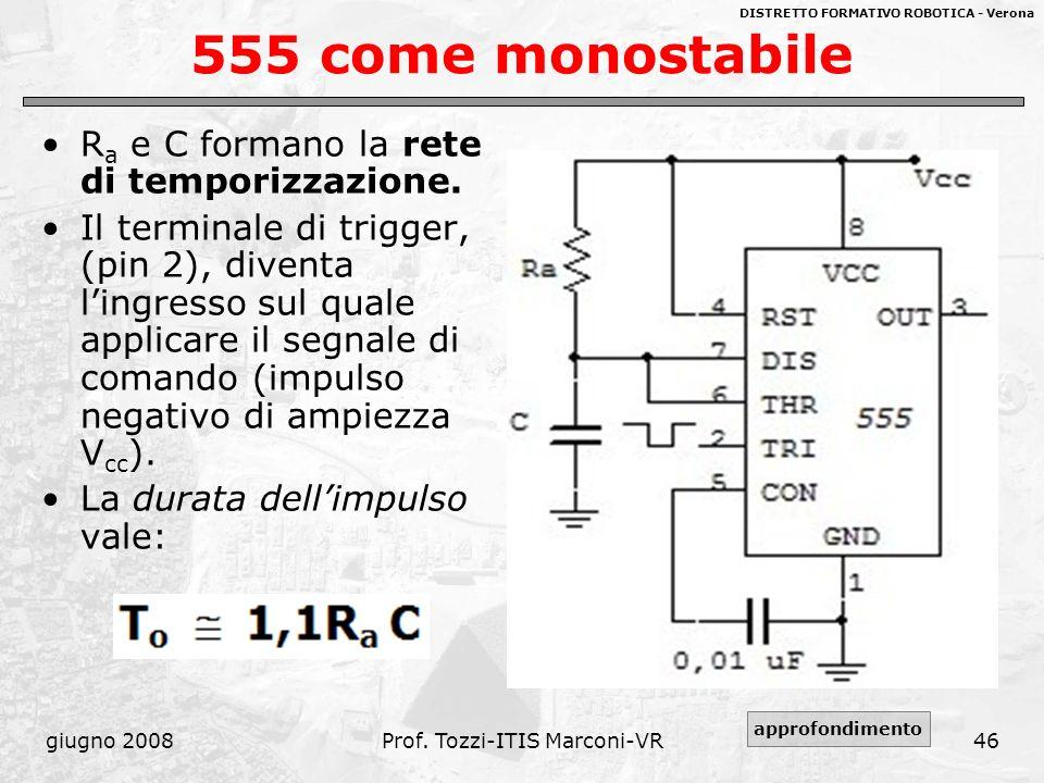 DISTRETTO FORMATIVO ROBOTICA - Verona giugno 2008Prof. Tozzi-ITIS Marconi-VR46 555 come monostabile R a e C formano la rete di temporizzazione. Il ter