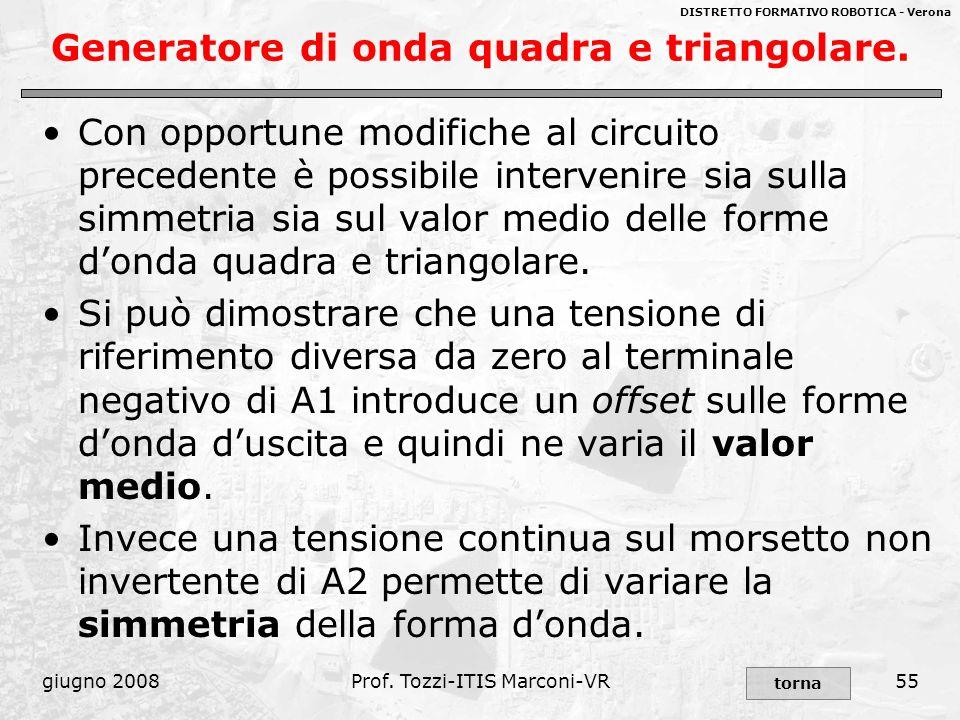 DISTRETTO FORMATIVO ROBOTICA - Verona giugno 2008Prof. Tozzi-ITIS Marconi-VR55 Generatore di onda quadra e triangolare. Con opportune modifiche al cir