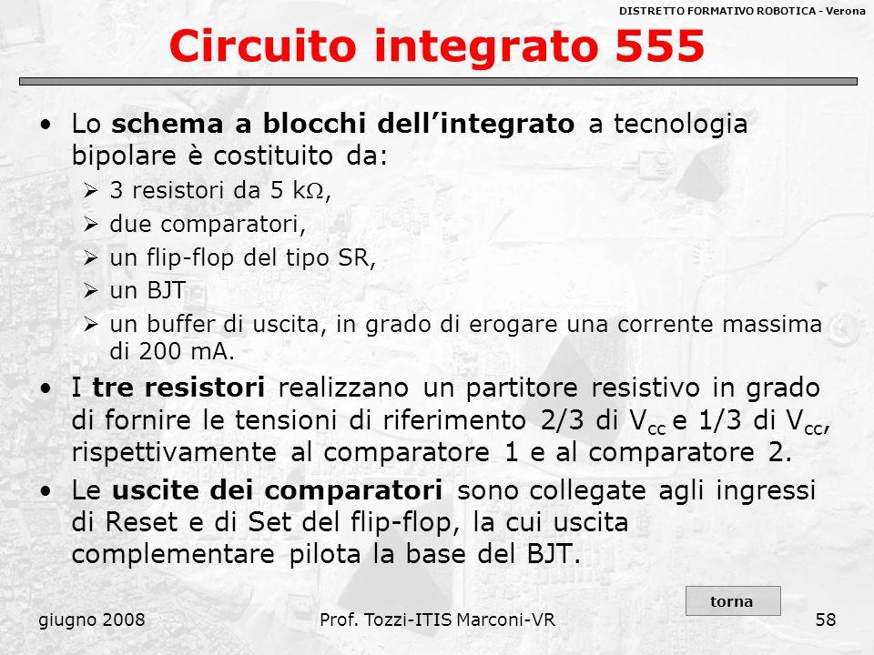 DISTRETTO FORMATIVO ROBOTICA - Verona giugno 2008Prof. Tozzi-ITIS Marconi-VR58 Circuito integrato 555 Lo schema a blocchi dellintegrato a tecnologia b