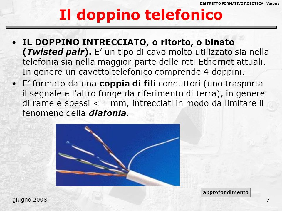 DISTRETTO FORMATIVO ROBOTICA - Verona giugno 20088 Il doppino telefonico Lapplicazione più comune del doppino è il sistema telefonico, nel quale può trasportare il segnale vocale per diversi chilometri prima di dover essere riamplificato tramite ripetitori.