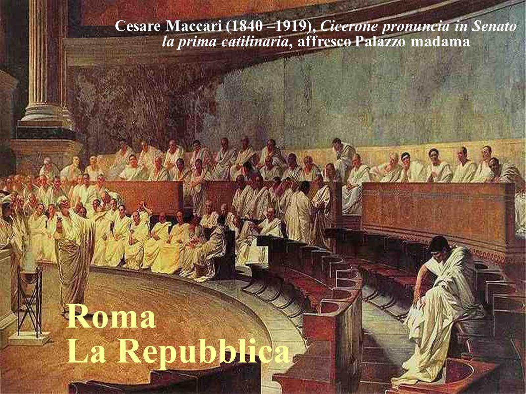 Cesare Maccari (1840 –1919), Cicerone pronuncia in Senato la prima catilinaria, affresco Palazzo madama Roma La Repubblica