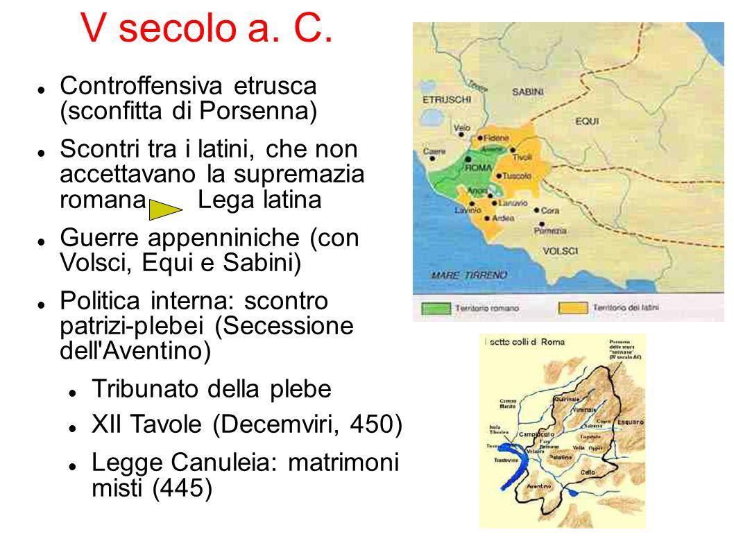 V secolo a. C. Controffensiva etrusca (sconfitta di Porsenna) Scontri tra i latini, che non accettavano la supremazia romana Lega latina Guerre appenn