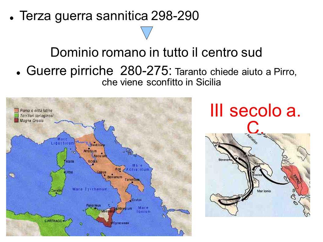 III secolo a. C. Terza guerra sannitica 298-290 Dominio romano in tutto il centro sud Guerre pirriche 280-275: Taranto chiede aiuto a Pirro, che viene